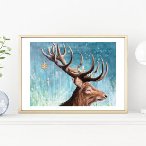 A dear deer, Lisbeth Thygesen, art print, Kunsttryk, A3, deer, stag, hjort, kronhjort