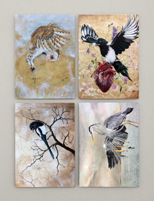 Postkort, birds, Lisbeth Thygesen