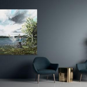 Can I touch the sky?, original, painting, maleri, art, kunst, interior, Lisbeth Thygesen
