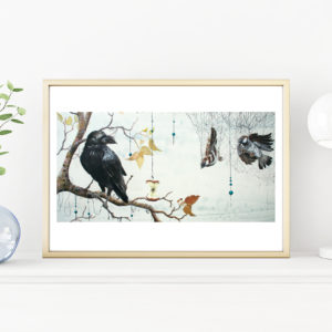 Caught in a net, Lisbeth Thygesen, art print, kunsttryk, A3, Ravn, raven