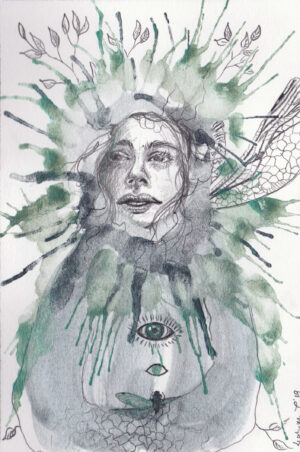 Kunst, original, blyant, akvarel, guldsmed