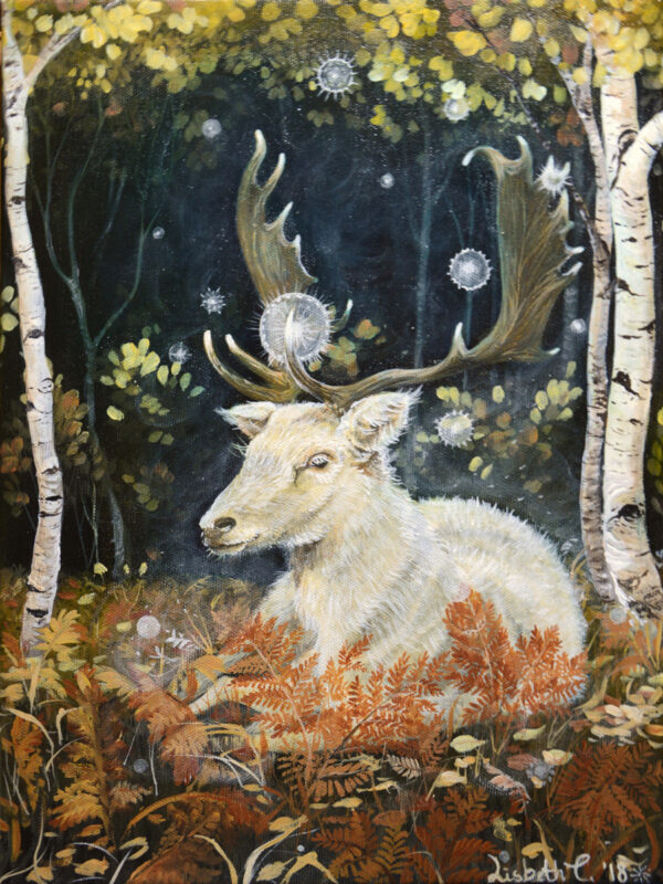 Forest, tranquility, Lisbeth Thygesen, painting, maleri, art, kunst, deer, stag, hjort