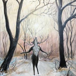 Forever becoming, deer, hjort, light, lys, Lisbeth Thygesen, painting, maleri, art, kunst