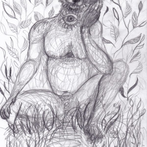 Fox, shaman, Lisbeth Thygesen, drawing, tegning, art