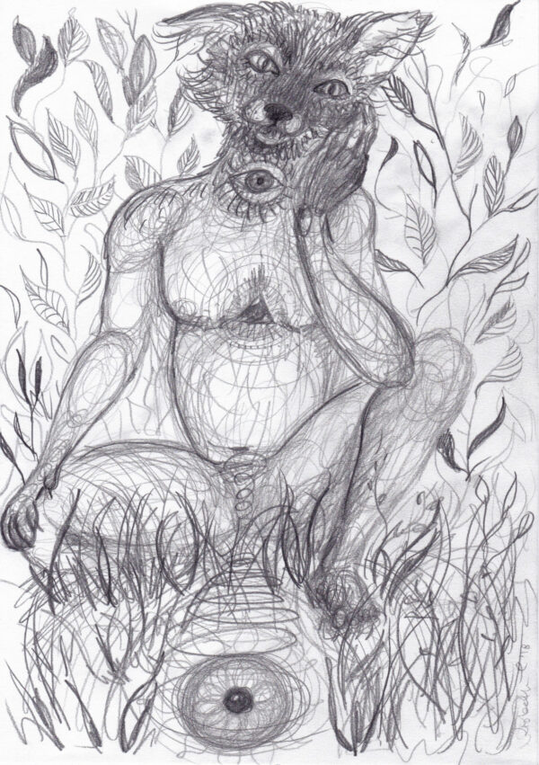 Fox, shaman, Lisbeth Thygesen, drawing, tegning, art