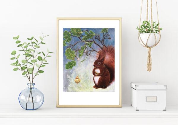 Interior, interiør, art print, kunsttryk, Lisbeth Thygesen, egern, squirrel