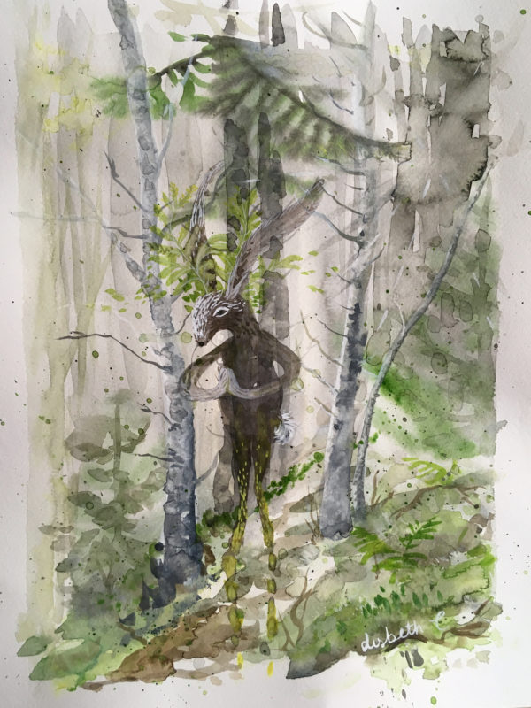 Hare, greeting, hilsen, akvarel, watercolor, Lisbeth Thygesen,