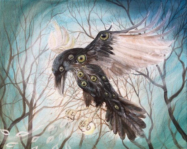 Lisbeth Thygesen, painting, maleri, raven, ravn, corvid, shamanic, shamansk, asa