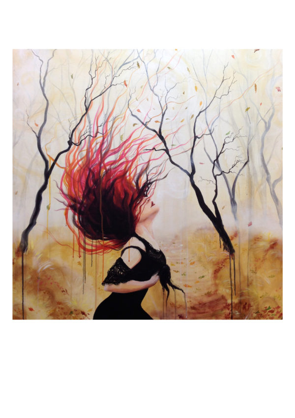 Like a leaf in the wind, Lisbeth Thygesen, art print, kunsttryk