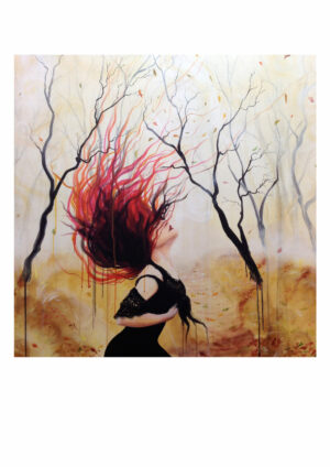 Like a leaf in the wind, Lisbeth Thygesen, art print, kunsttryk