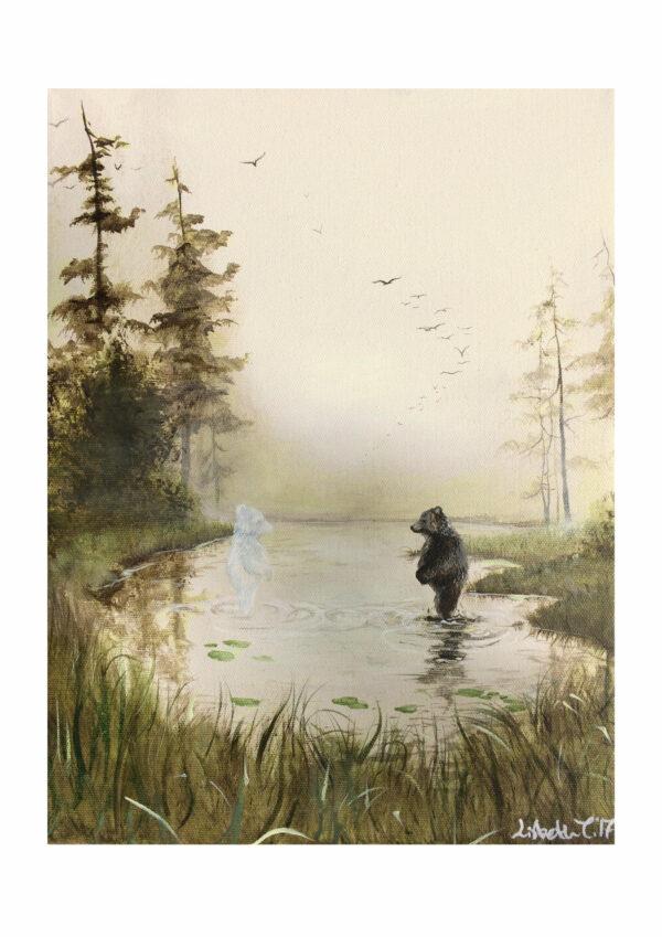Magisk morgen, magical morning, bear, bjørn, Lisbeth Thygesen, art print, kunsttryk