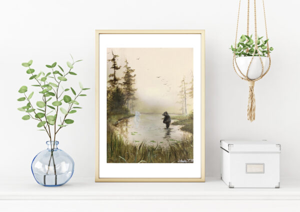 Magical, morning, art print, kunsttryk, bear, bjørn, Lisbeth Thygesen