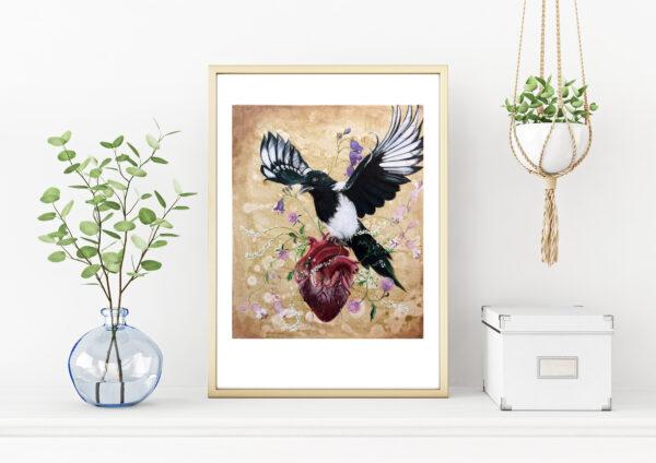My wild heart, mit vilde hjerte, Lisbeth Thygesen, art print, kunsttryk, A3