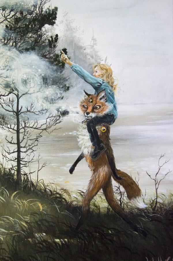 Lisbeth Thygesen, Nefelibatas, fox, ræv, painting, maleri, original, art