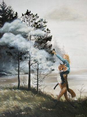 Nefelibatas, Lisbeth Thygesen, art, kunst, maleri, painting, original, fox, ræv