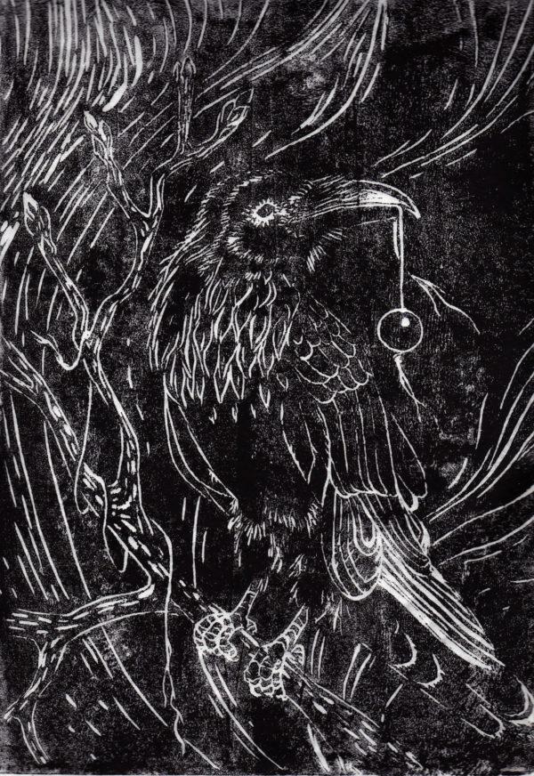 Raven with bead, Lisbeth Thygesen, lino cut, linoleumstryk