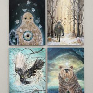 Postkort, spirit creatures, Lisbeth Thygesen