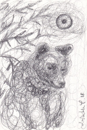 Bear spirit, Lisbeth Thygesen, bjørn, tegning, drawing, pencil, blyant