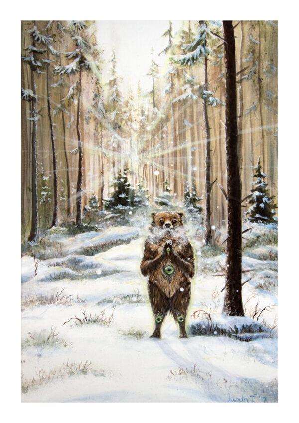 The Gentle Giant bjørn vinter kunsttryk spirituel kunst Lisbeth Thygesen