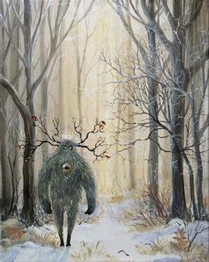 forest, watcher, spirit, skov, ånd, Lisbeth Thygesen, maleri, painting, art, kunst