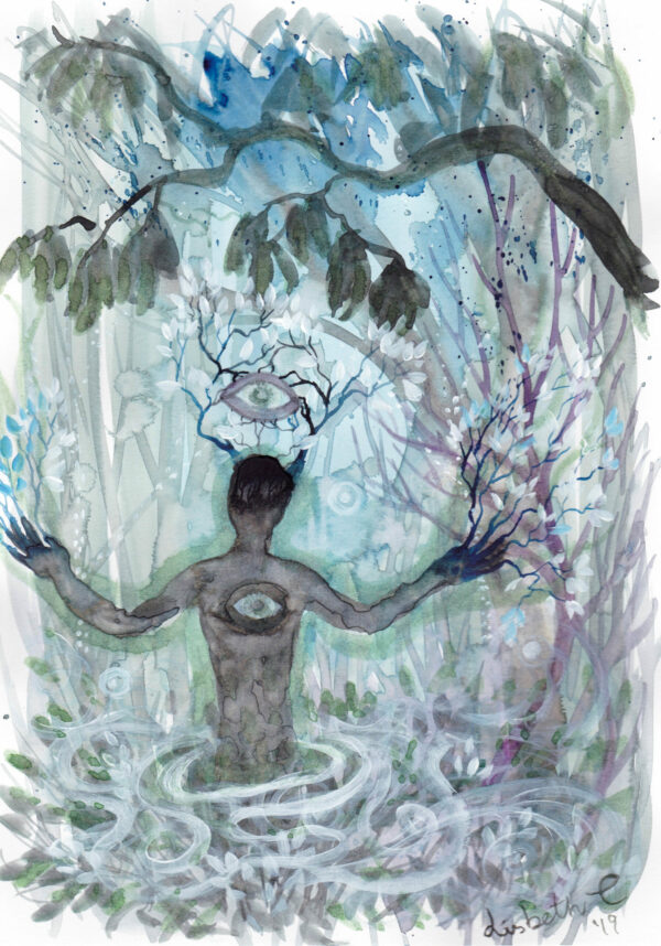 Beltane, majfest, shaman, shamanic, Lisbeth Thygesen, akvarel, watercolor, art, kunst