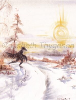 Raven, ravn, Lisbeth Thygesen, original, art, kunst