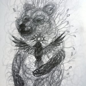 Bear, spirit, guide, drawing, tegning, Lisbeth Thygesen, original