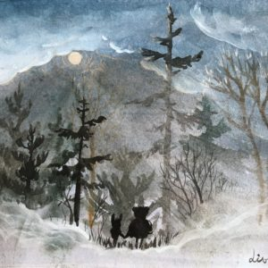 Moonlight, Lisbeth Thygesen, akvarel, watercolor