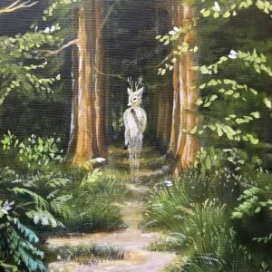 Oh deer, Lisbeth Thygesen, forest, skov, maleri, painting, original