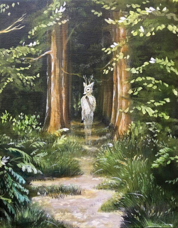 Oh deer, Lisbeth Thygesen, forest, skov, maleri, painting, original