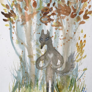 wolf, ulv, love, kærlighed, namaste, watercolor, akvarel, Lisbeth Thygesen