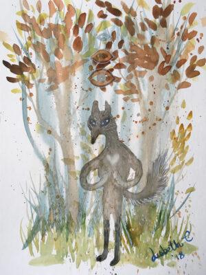 wolf, ulv, love, kærlighed, namaste, watercolor, akvarel, Lisbeth Thygesen