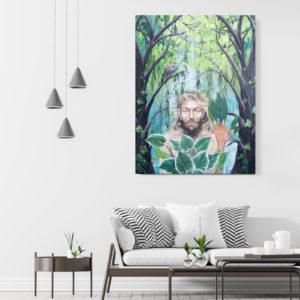 Green man, Lisbeth Thygesen, original, painting, maleri.
