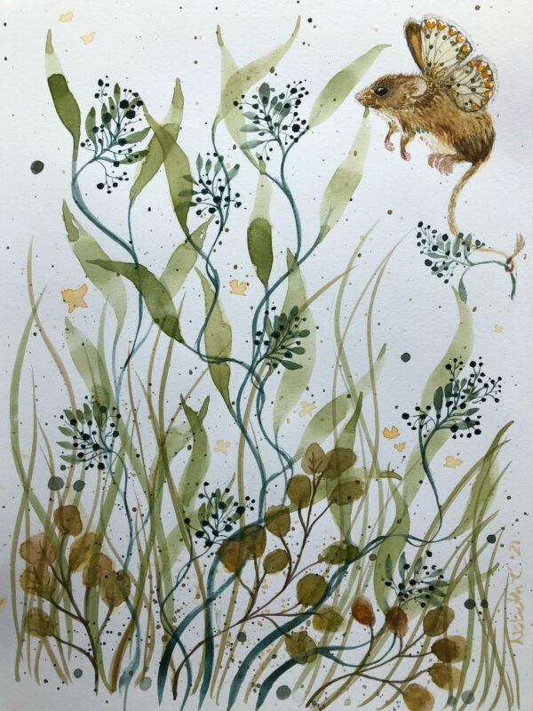 Mus, blomst, vinger, Lisbeth Thygesen, papirværk, akvarel