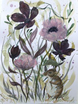Lisbeth Thygesen, akvarel, papirværk, mus, blomst