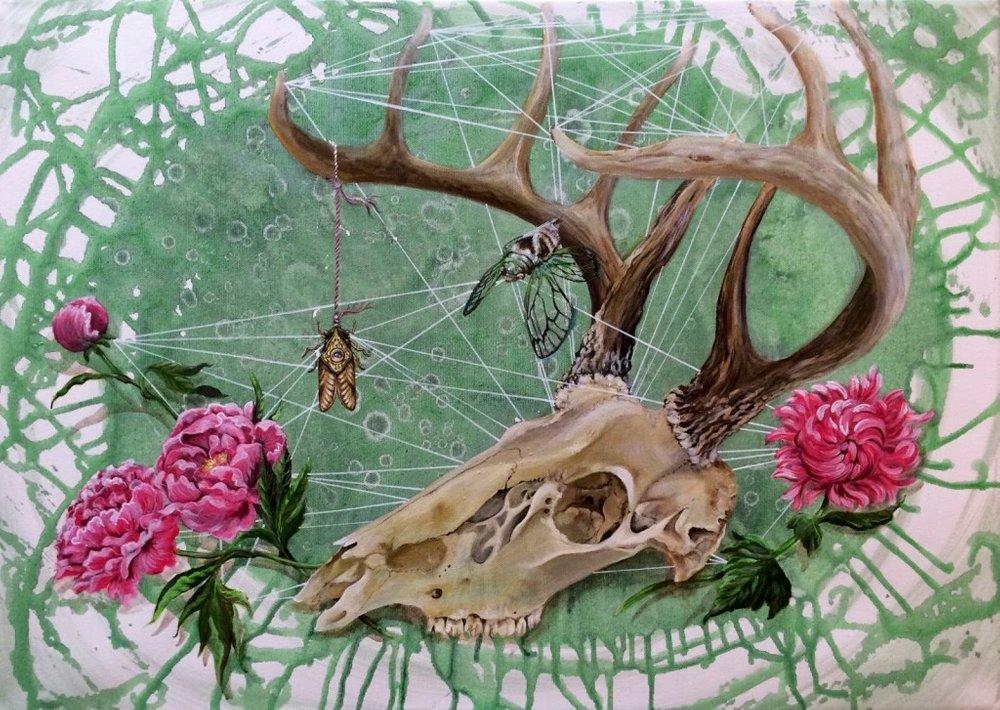 Deer skull, cikada and peonies - SOLGT