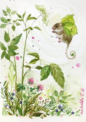 Citron flagre mus, Lisbeth Thygesen, akvarel, original, kunst