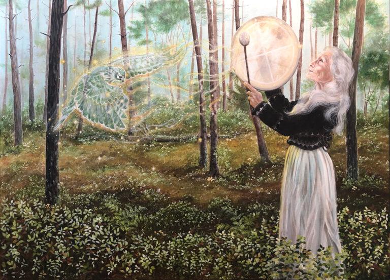 The calling, Lisbeth Thygesen, maleri, kunst, dansk, figurativ, shaman, shamanisme, tromme, høg, skov, kraftdyr